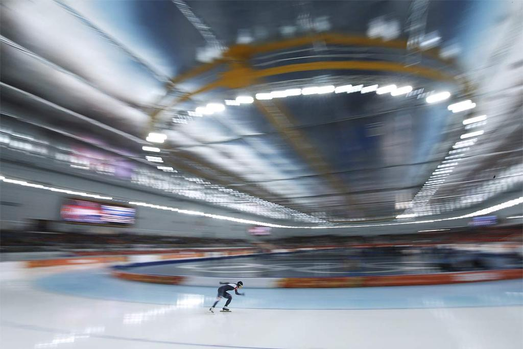 South Korea's Lee Sang-hwa skates during the women's 500 metres speed skating race.