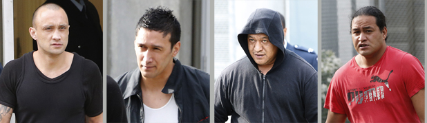 ON TRIAL: The four men, with alleged Mongrel Mob connections, accused of invading a Canvastown home are escorted out of the Nelson District Court. Daniel Minogue, Tuwhare Pui, James Kiriona and Joshua Kiriona