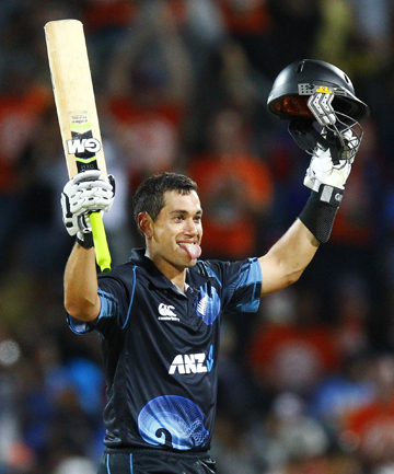 TAYLOR-MADE: Ross Taylor celebrates his century in the fourth one-day international against India at Seddon Park in Hamilton.