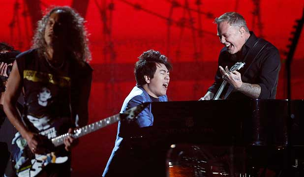 PIANO SUPERSTAR: Lang Lang performs One with Metallica at the 56th annual Grammy Awards in Los Angeles.