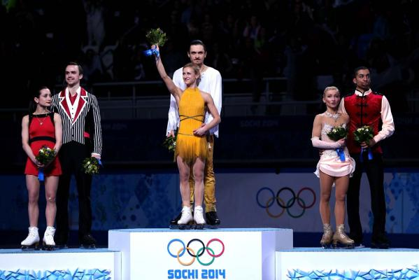 Silver medalists Ksenia Stolbova and Fedor Klimov of Russia, gold medalists Tatiana Volosozhar and Maxim Trankov of Russia, bronze medalists Aliona Savchenko and Robin Szolkowy