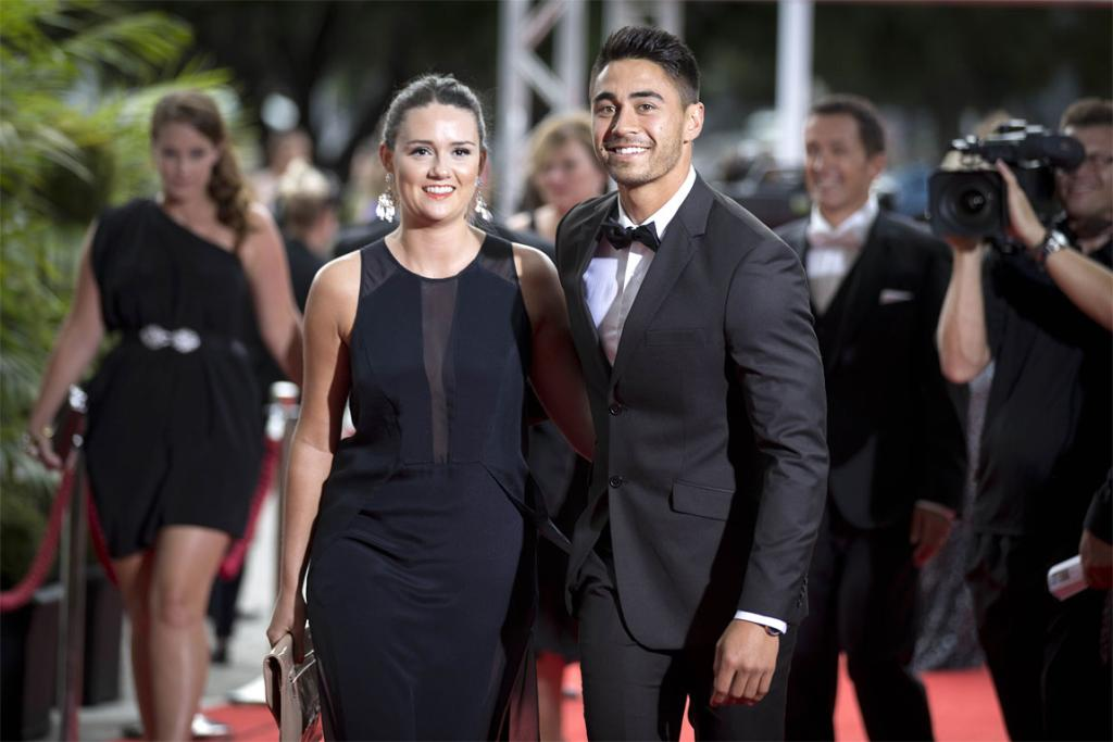 Warriors halfback Shaun Johnson and partner Phoebe Carr on the red carpet.