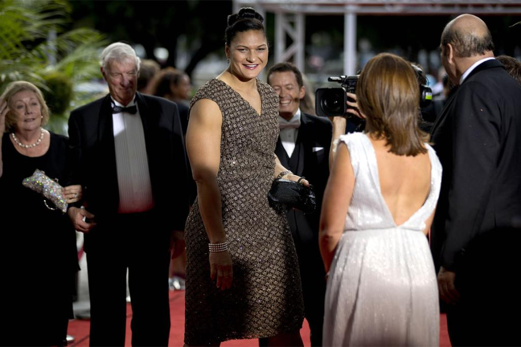 World and Olympic champion shot putter Valerie Adams on the red carpet.