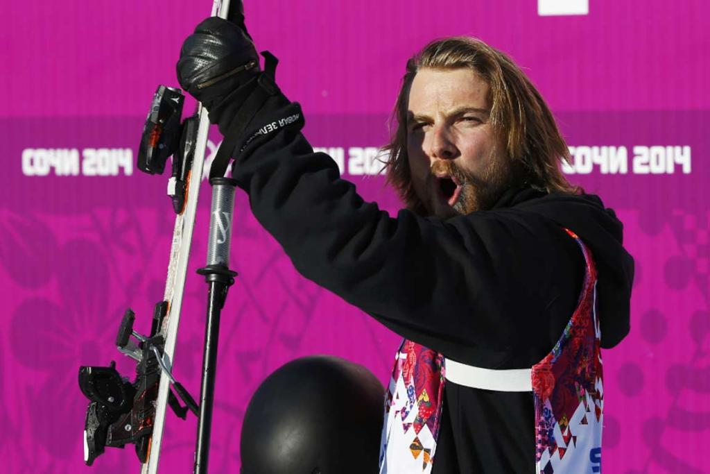 New Zealand's Jossi Wells reacts after a run during the men's ski slopestyle final.