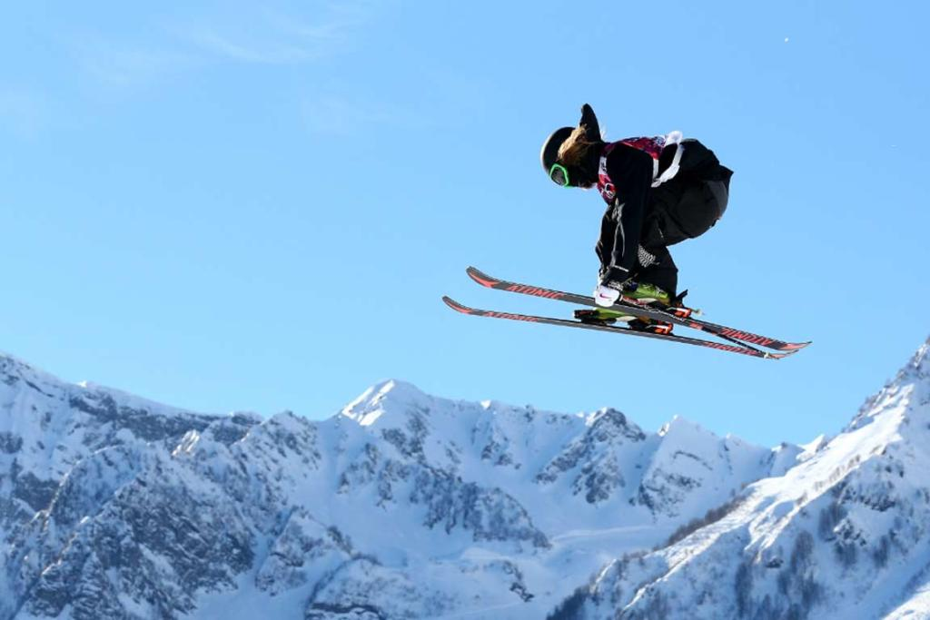 Beau-James Wells competes during the men's ski slopestyle qualification round.