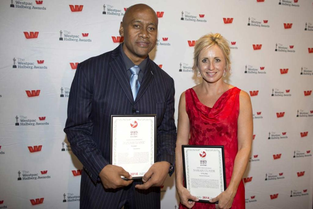 New Zealand Sports Hall of Fame inductees Jonah Lomu and Sarah Ulmer.