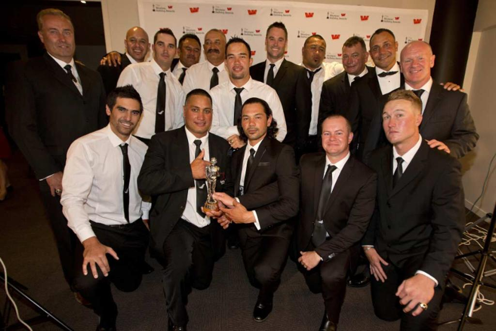 Members of the world champion Black Sox softball side pose after claiming the New Zealand sports moment of the year.