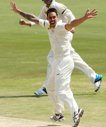 GOT HIS MAN: Mitchell Johnson appeals successfully for the wicket of South African opener Alviro Petersen on day two of the first test at Centurion.