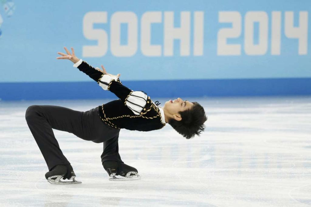 Michael Christian Martinez of the Philippines competes during the men's figure skating short program.