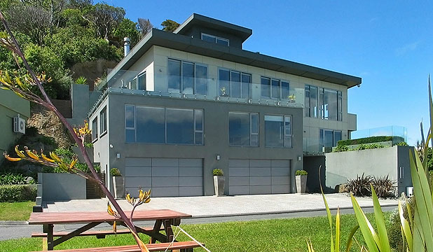 HOUSE OF LOSS: The $4.65 million Kaiwharawhara mansion of disgraced businessman Shaan Stevens is being sold. Chattels include a greenstone water feature, spa bath and climate-controlled wine cellar.