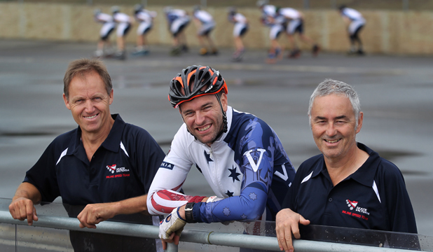 ADVANCE AUSTRALIA FAIR: Skate Victoria speedskating branch chairman Jon Evans, left, is proposing the Australian Bank Track Championships be held in Timaru rather than on home soil. With Evans are Victorian coach Andy Finster, centre, and manager Peter Garriga.