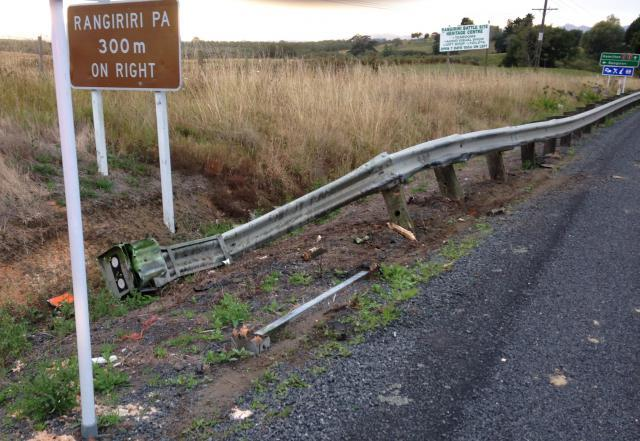 One of the roadside barriers damaged as the truck slowly passed.