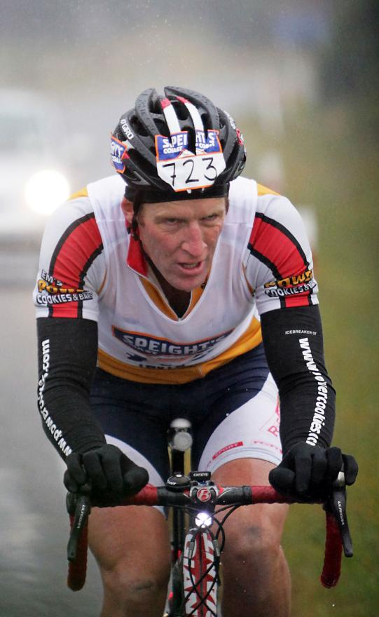PEDALING: Shaun Portegys on the bike leg.