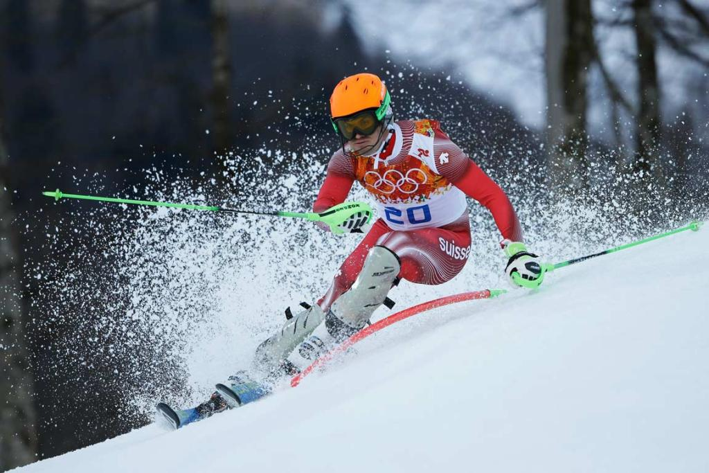 Super combined gold medalist Sandro Viletta of Switzerland in action during the downhill.