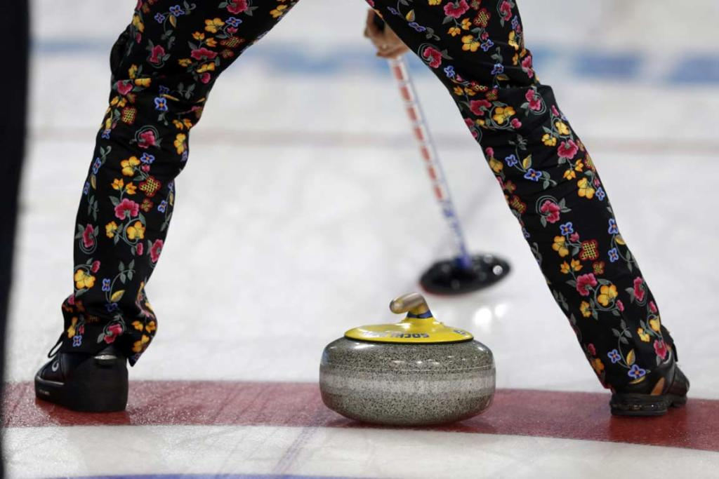 The latest in pants choice by the Norwegian men's curling team.