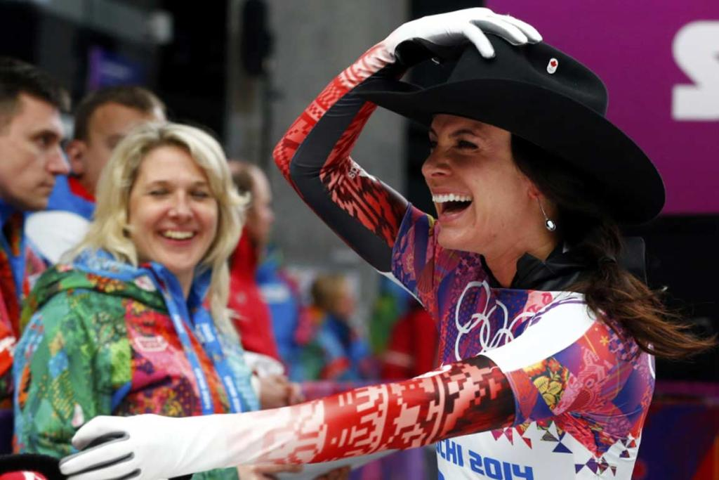 Canada's Melissa Hollingsworth dons a cowboy hat after completing her last run in the women's skeleton.