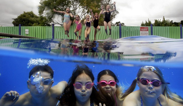 COOL POOL: Aokautere School pupils test the waters of their new school pool which has had a $39,000 facelift after being shut for two years.