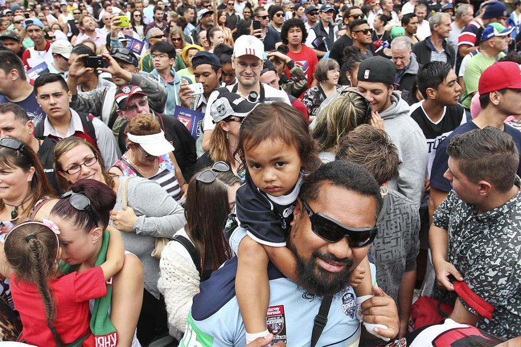 Fans during the launch of the Rugby League Nines held at Aotea Square, Auckland.