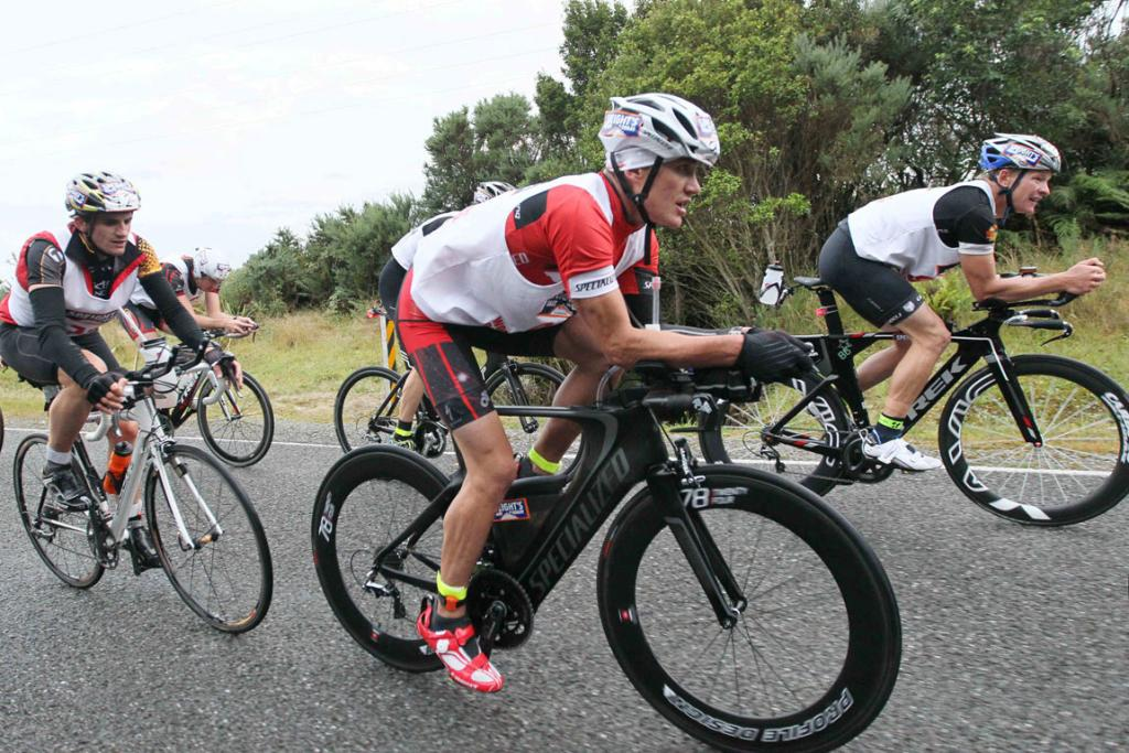 GRINDING: Braden Currie (foreground) on the first cycle leg in the Coast to Coast Individual One Day event.