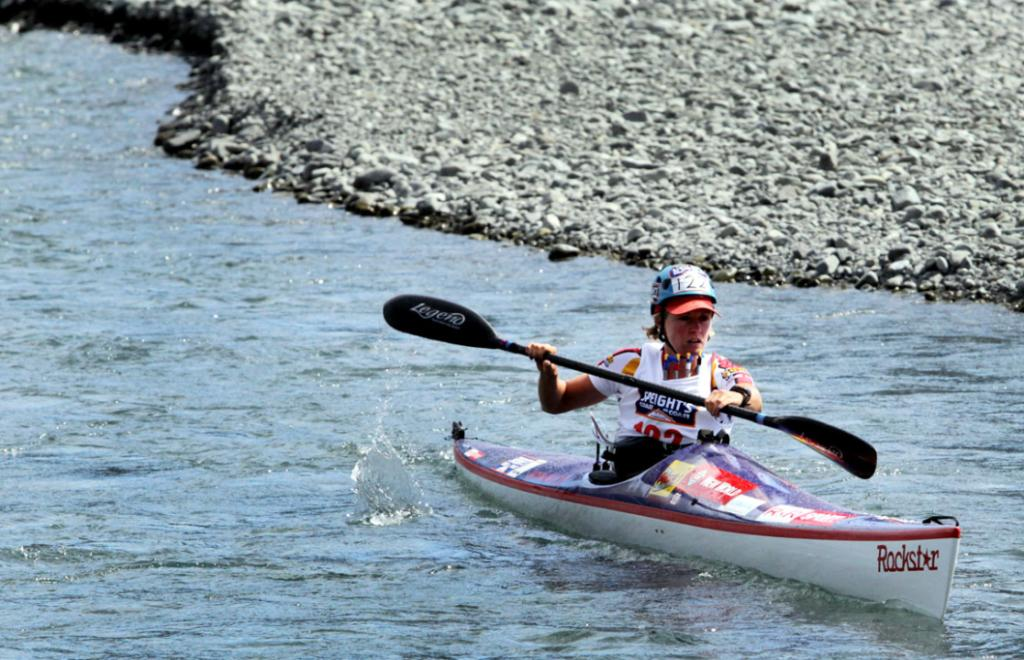 PADDLE TIME: Coast to Coast Jess Simson setting off in Kayak from Mount White Bridge.