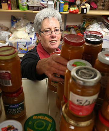SWEET TREAT: Foodbank co-ordinator Brenda King stocks up with the first lot of apricot jam made by inmates of Invercargill Prison  this year.