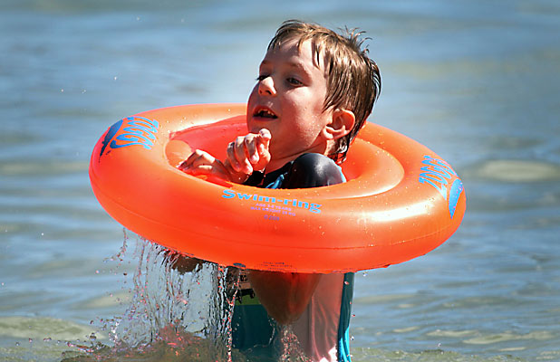 HEAVENLY: Daniel Streletsky, 6, enjoys a sunny afternoon at Corsair Bay yesterday.
