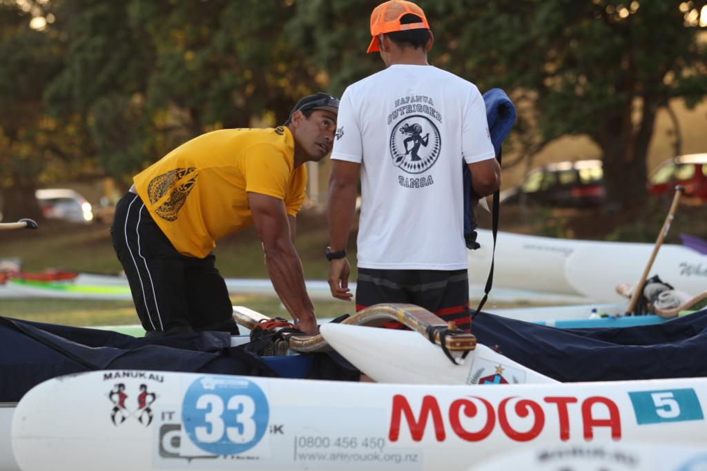 Cherokee Dolan from team Vaka Manu gets ready for the start.