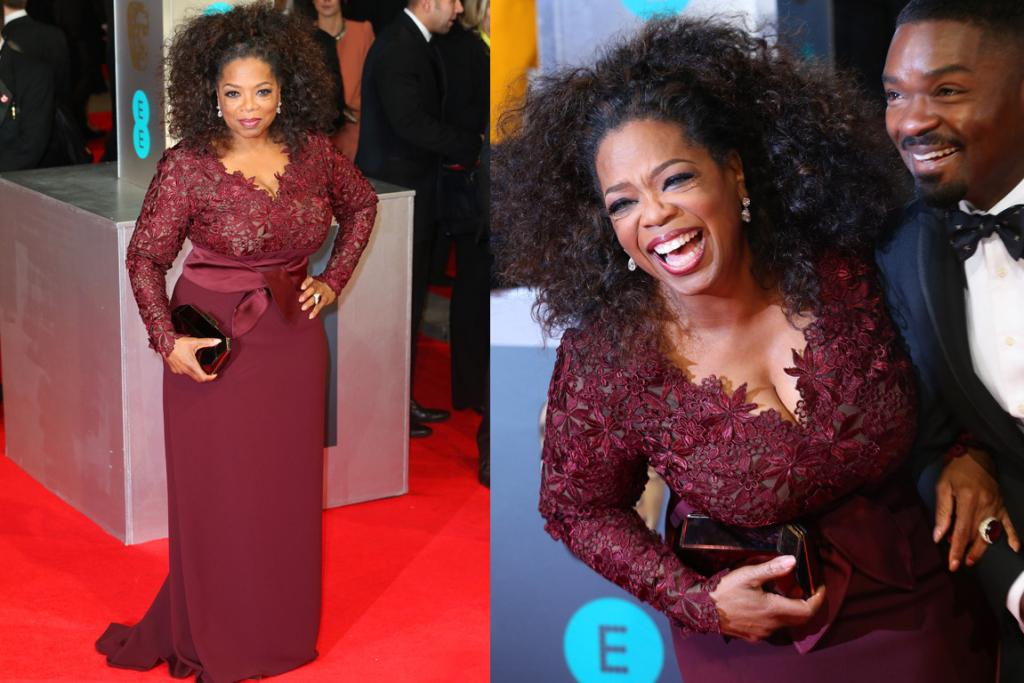 THE GOOD: This Stella McCartney gown (custom-made for Oprah, natch) sings on the mother of our hearts. The lace bodice is perfection and I adore her hair in this half-up, half-down do'.