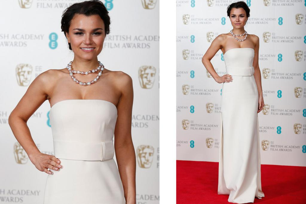THE GREAT: Samantha Barks in Calvin Kiein proves that 'vanilla' can sometimes win the race. This Calvin Klein gown is perfection on her - and those bold pearls are just enough to keep things interesting.