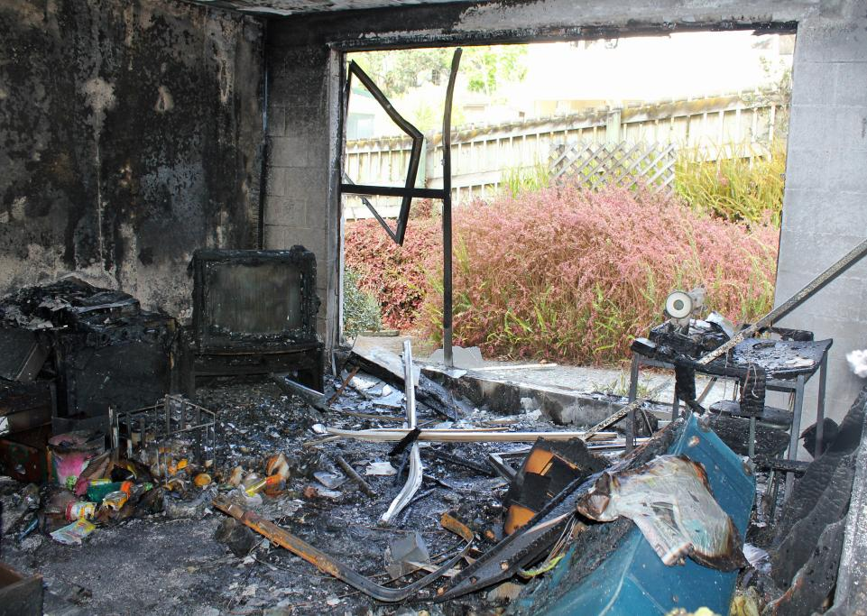 UNRECOGNISABLE: The living room of this one bedroom flat in Birkenhead has been destroyed by fire.