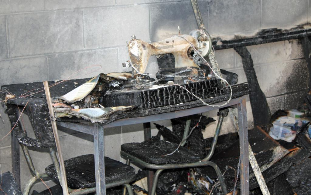 SEWING MACHINE: The heat produced from a house fire was so intense it melted glass and warped metal.