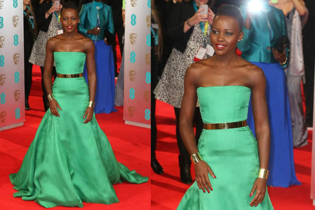 THE GREAT: Pure emerald green is probably my favourite colour of all time (under done on the red carpet too) and I'm loving it on Lupita Nyong'o. She's accessorised the strapless Dior gown perfectly with those Ana Khori cuffs; and this may be the most figure-flattering I've seen a Raf Simons Dior dress look to date.