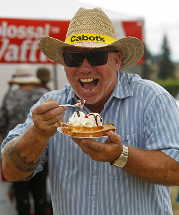 DIG IN: Shane Geddes gets his hands on some waffles at the Brightwater Wine and Food Festival.