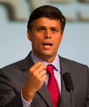 "Opposition leader Leopoldo Lopez, seen speaking at a rally in 2012, says he has ""nothing to fear""."