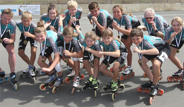 GOLDEN TEAM: The South Canterbury Speed Skating Club's individual national title holders after the New Zealand Bank Track Championships were held at Caroline Bay were (from left back row) Brett McCormack, Jan Kuepper, Judah Kelly, Guy McDonald, Nick Frame, Tyla Smith, Bruce Begg and Nicole Begg; (front row, from left) Jazmyn McAuley, Ella Benson, Tasha McAuley, Charlotte Clarke and Keaton Swindells.