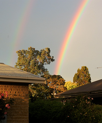 An impressive double rainbow brightens the sky over Winton last night.