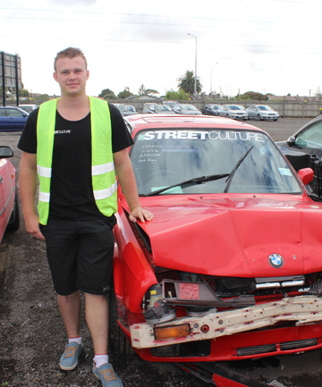 SPECTACULAR CRASH: Jared Donkin's two cars lay smashed up on Mt Eden Rd immediately after a bus careered into them.