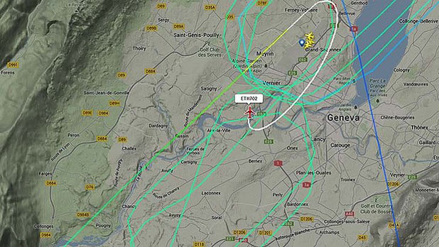 ROUND IN CIRCLES: The hijacked plane's flightpath over Geneva.