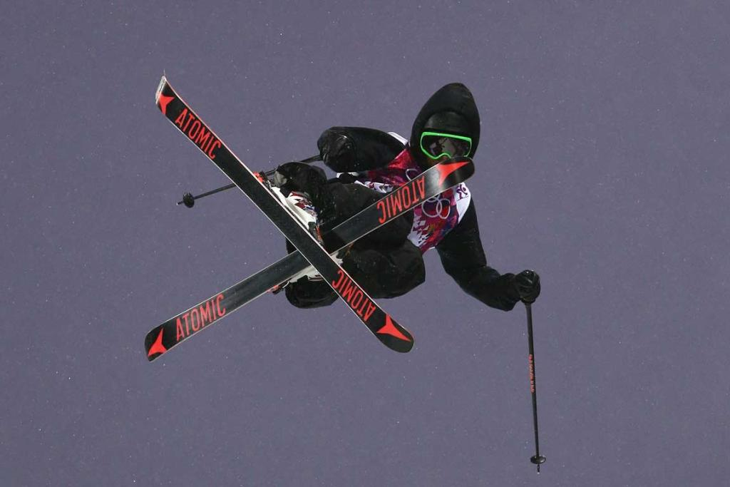 Jossi Wells in action during qualifying for the men's ski halfpipe final.