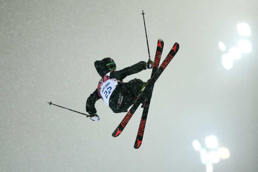 Beau-James Wells in action during qualifying for the men's ski halfpipe final.