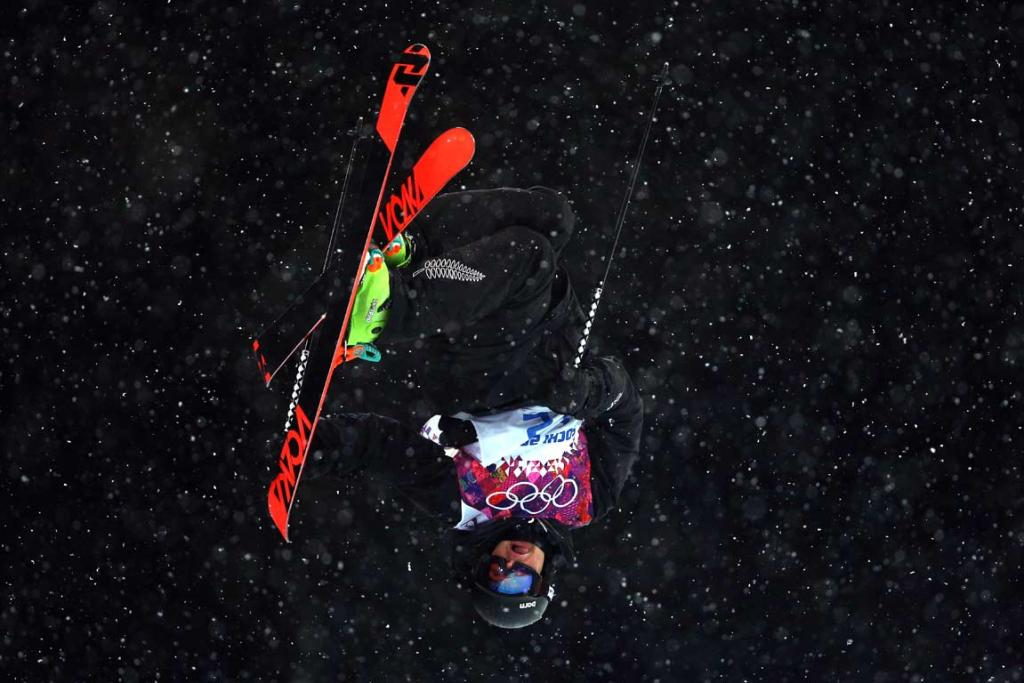 Lyndon Sheehan gets upside-down during men's ski halfpipe qualifying.
