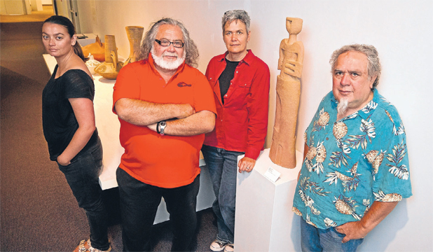 CONNECTED: Uku Rere: Nga Kaihanga Uku exhibition curator Anna-Marie White, left, with artists Wi Taepa, Paerau Corneal and Baye Riddell.