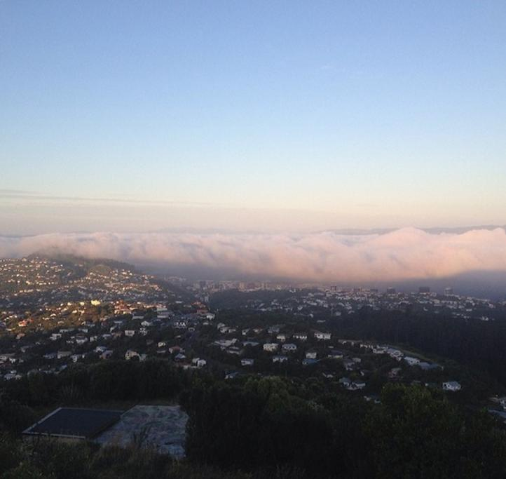 The fog rolling in over Wellington.