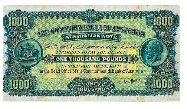 Sold in 2008 for A$890,000 this 1923 1000 note is one of Australia's rarest. But it failed to meet its reserve at the recent auction and was passed in.