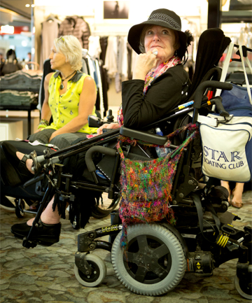 LONG ROAD AHEAD: Lorri Mackness was forced to ride her electric wheelchair from the Wellington Airport to a hotel 4kms away at midnight, after being stranded at the airport due to fog. The taxi company did not have a disabled capable taxi to take her to the hotel.