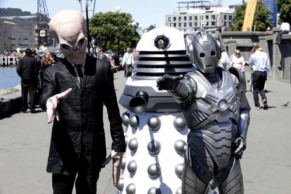 EXTERMINATE: Characters from the TV show Dr Who, from left, The Silence, a Dalek and a Cyberman.