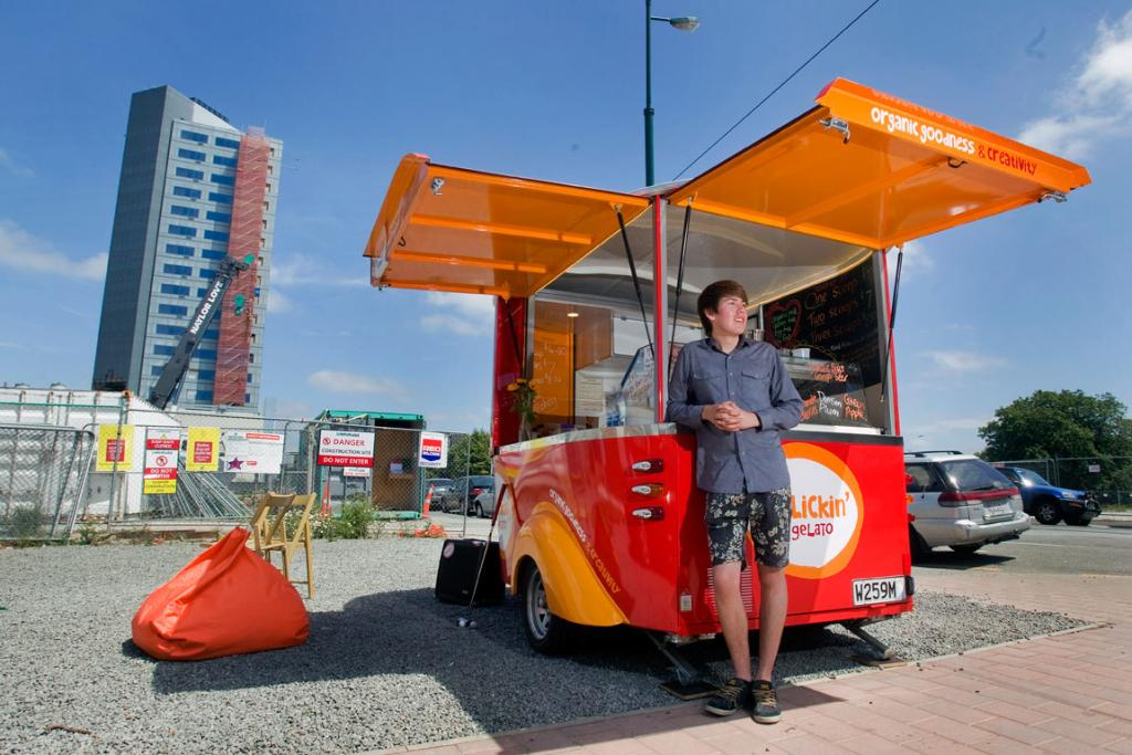 GELATO: Jed Joyce,15, a St Bede's College student who owns Rollickin' Gelato, cnr Armagh and New Regent St.
