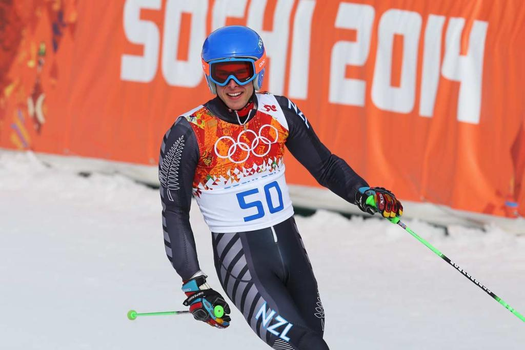 Queenstown's Adam Barwood speeds down the giant slalom course, on his way to 44th out of 109 in the men's event.