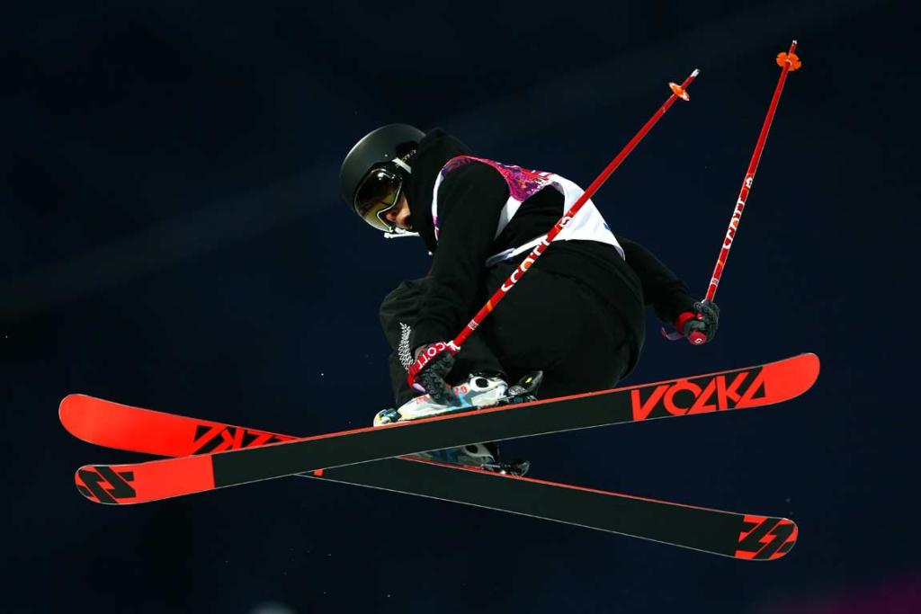 New Zealand's Janina Kuzma in action during the women's ski halfpipe qualification round.