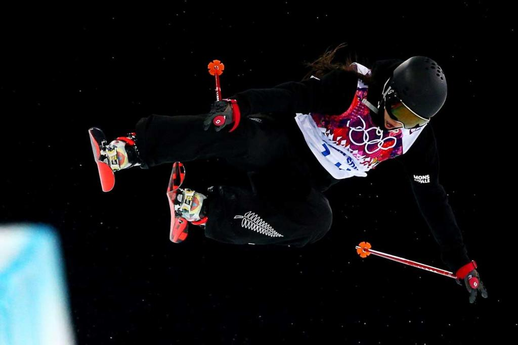 Janina Kuzma flies high during the women's ski halfpipe final.